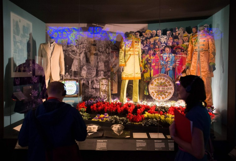 "Original and replica costumes from the British band The Beatles used on the album cover of Sgt. Pepper's Lonely Hearts Club Band are pictured on display during a photo-call for the ""You Say You Want a Revolution? Records and Rebels 1966-70"" exhibition at the V&A museum in central London on September 7, 2016. The exhibition that aims to trace the significance and impact of the late 1960s on life today opens on September 10. (DANIEL LEAL-OLIVAS/AFP/Getty Images)"