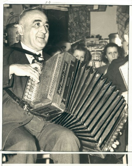 Undated photo of Czech man playing accordion in Baltimore. (Baltimore Sun Archives)