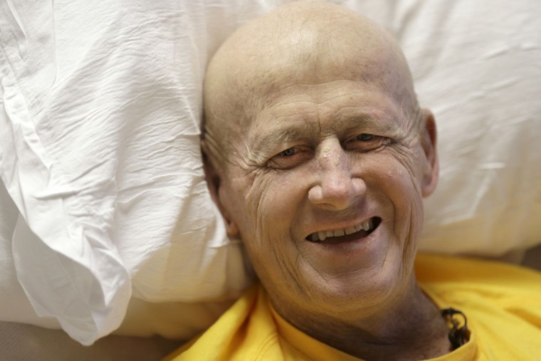 Sportscaster Craig Sager smiles during an interview Tuesday, Aug. 30, 2016, at MD Anderson Hospital in Houston. Sager underwent his third bone marrow transplant Wednesday, Aug. 31, 2016, as he continues to battle acute myeloid leukemia. (AP Photo/David J. Phillip)