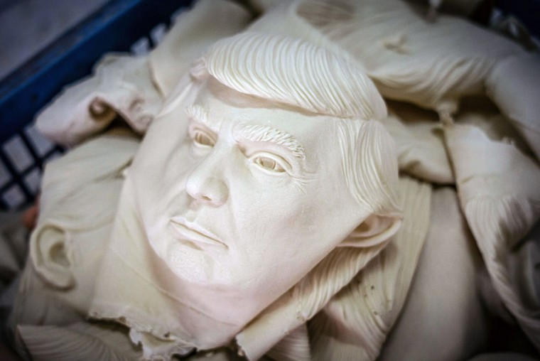 SHENZHEN, CHINA - OCTOBER 18: Masks of Donal Trump are seen in a basket at the Shenzhen Lanbingcai Latex Crafts Factory on October 18, 2016 in Shenzhen, China. Shenzhen Lanbingcai Latex Crafts Factory, located in the industrial area of Shenzhen with 20 to 30 employees, produces all sort of Halloween and party costumes and masks. It runs a small scale production of Donald Trump masks for local distribution within mainland China costing from 30 Renminbi onwards as the third Presidential Debate 2016 between Donald Trump and Hillary Clinton happens on Thursday. Chinese media have derided the election as a risible variety show in which the candidates' spectacular personal failings have taken precedence over the business of governance. (Photo by Anthony Kwan/Getty Images)