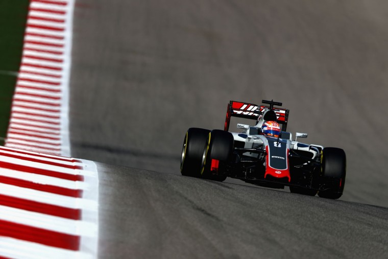 Romain Grosjean of France driving the (8) Haas F1 Team Haas-Ferrari VF-16 Ferrari 059/5 turbo on track during practice for the United States Formula One Grand Prix at Circuit of The Americas on October 21, 2016 in Austin, United States. (Photo by Clive Mason/Getty Images)