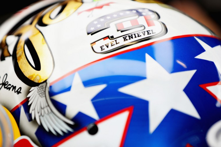 Detail shot showing the Evel Knievel branding on the helmet of Daniel Ricciardo of Australia and Red Bull Racing during practice for the United States Formula One Grand Prix at Circuit of The Americas on October 21, 2016 in Austin, United States. (Photo by Mark Thompson/Getty Images)