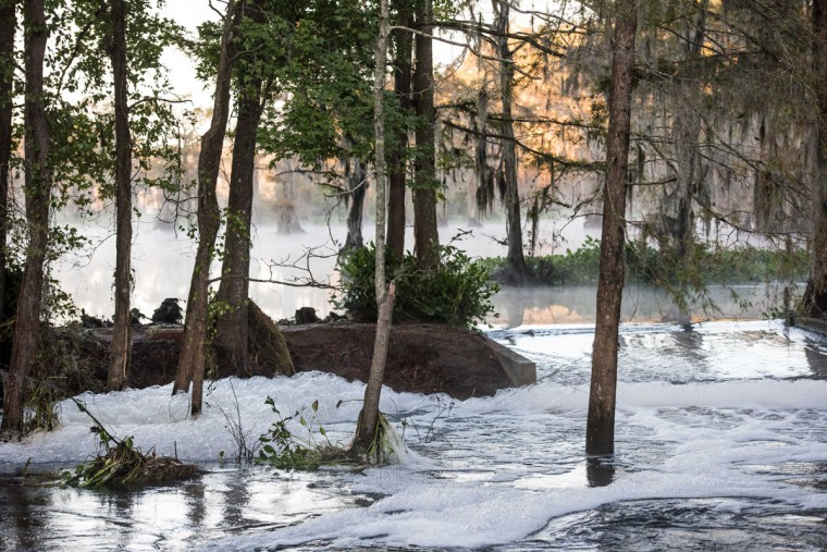 LAKE VIEW, SC - OCTOBER 11: Floodwaters rush through a swamp area caused by remnants of Hurricane Matthew on October 11, 2016 in Lake View, South Carolina. The region is still assessing the full magnitude of damage caused by the storm. (Photo by Sean Rayford/Getty Images)