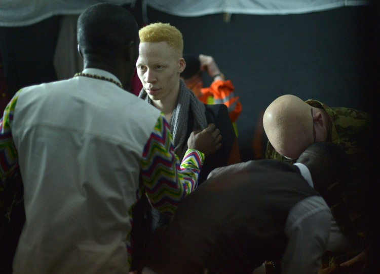 Contestants prepare backstage during a pageant hosted by the Albinism Society of Kenya in Nairobi on October 21, 2016. In many parts of Africa albinos are stigmatised or hunted for their body parts, but for one night in Kenya those with the condition took to the catwalk to show off their unique beauty. Billed by organisers as the first pageant of its kind, young albino men and women competed for the title of Miss and Mr Albinism Kenya. (AFP PHOTO / TONY KARUMBA)