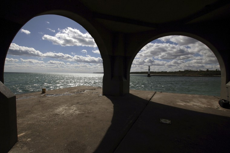 This photo taken Oct. 3, 2016 shows arches below the light tower on the Port Washington, Wis. breakwater. The city is in the process of acquiring the light head, with plans to raise and spend $1.5 million to restore. (AP Photo/Carrie Antlfinger)