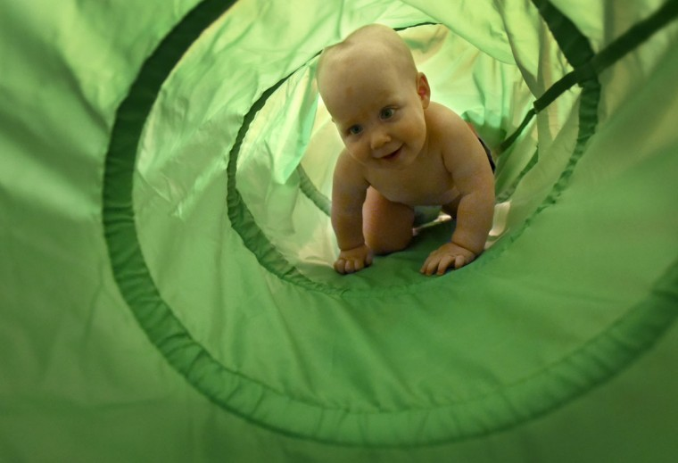 Ollie explores a play tunnel at home. The Hewitt triplets, Finn, Ollie and Trip, turned one year old on Oct. 6. (Amy Davis/ Baltimore Sun)