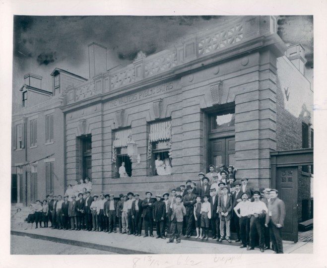 Crowd gathered at the Walters Public Baths, undated photo. (Baltimore Sun)