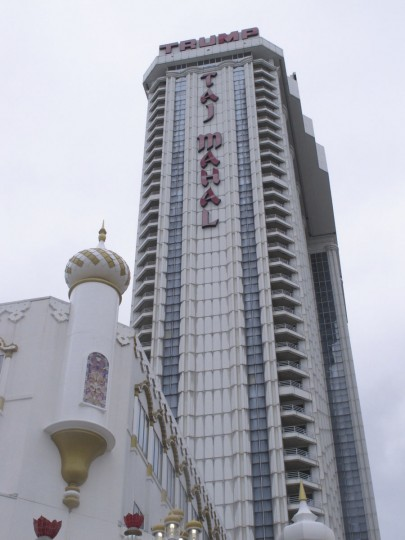 This Oct. 5, 2016 photo shows the exterior of the Trump Taj Mahal casino in Atlantic City, N.J. The casino is to close at 6 a.m. Monday Oct. 10, 2016_ the fifth Atlantic City casino to go out of business since 2014. (AP Photo/Wayne Parry)(AP Photo/Wayne Parry)