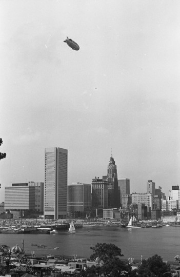 Photo of the Goodyear Blimp hovering over Baltimore. Marshall Jannoff was onboard this blimp taking aerial photos of the city. (Photo courtesy of Marshall Janoff)