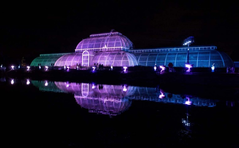 "The Palm House is illuminated at Kew Gardens in south west London, on November 22, 2016, during an event to promote the launch of the ""Christmas at Kew Gardens"" event. (JUSTIN TALLIS/AFP/Getty Images)"