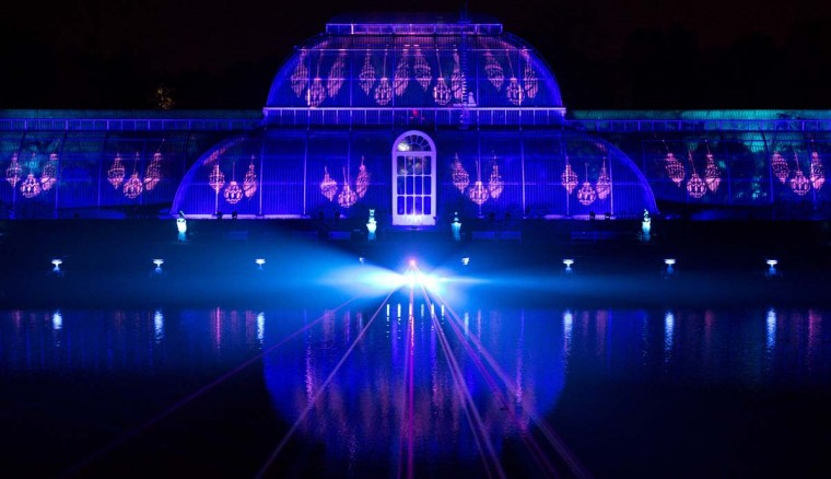 "The Palm House is illuminated during a photocall at Kew Gardens in south west London, on November 22, 2016, during an event to promote the launch of the ""Christmas at Kew Gardens"" event. (JUSTIN TALLIS/AFP/Getty Images)"