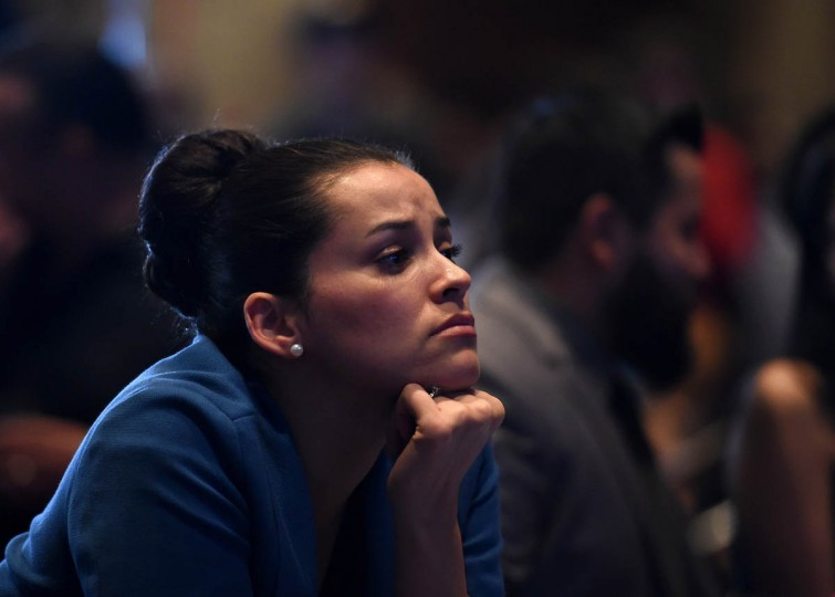 Hillary Clinton supporter Celinda Pena reacts as she watches the presidential election swing in favor of Donald Trump at the Nevada Democratic Party's election results watch party at the Aria Resort & Casino on November 8, 2016 in Las Vegas, Nevada. Donald Trump won the general election to become the next U.S. president. (Photo by Ethan Miller/Getty Images)
