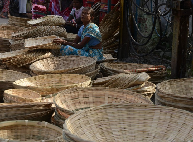 Indian vendors sell bamboo baskets at a roadside market ahead of the forthcoming Chhath Puja Festival in Siliguri on November 5,2016. The Chhath Festival is one of the most important festivals in the northern Indian states, and sees people worshiping the Sun god on the banks of rivers or small ponds, and praying for the longevity and health of their spouse. (Diptendu Dutta/AFP/Getty Images)