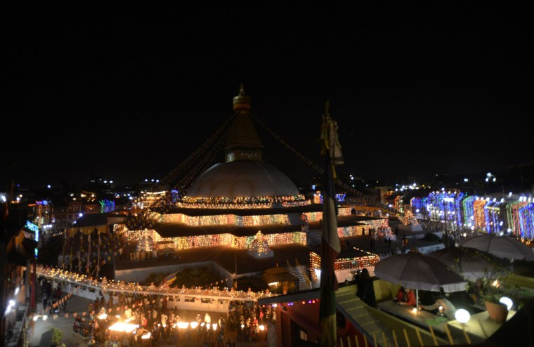 Picture taken on November 22, 2016 in Kathmandu shows the Boudhanath Stupa on its reopening day following its renovation for earthquake damage. Boudhanath Stupa was among hundreds of historic monuments damaged during the 7.8-magnitude quake that hit Nepal in April 2015 killing nearly 9,000 people. (Prakash Mathema/AFP/Getty Images)