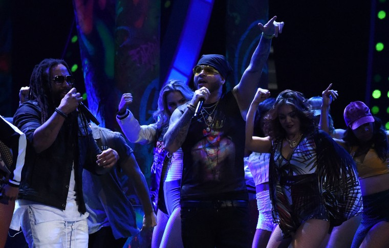 Ky-Mani Marley (L) and Farruko perform during the show of the 17th Annual Latin Grammy Awards on November 17, 2016, in Las Vegas, Nevada. (Valerie Macon/AFP/Getty Images)