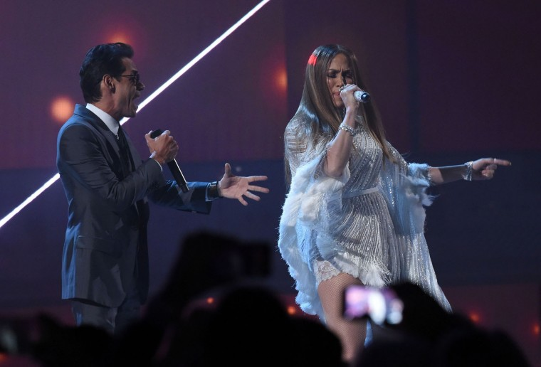 Singer Marc Anthony performs with Jennifer Lopez during the show of the 17th Annual Latin Grammy Awards on November 17, 2016, in Las Vegas, Nevada. (Valerie Macon/AFP/Getty Images)