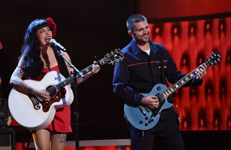 Mon Laferte (L) and Juanes perform during the show of the 17th Annual Latin Grammy Awards on November 17, 2016, in Las Vegas, Nevada. (Valerie Macon/AFP/Getty Images)