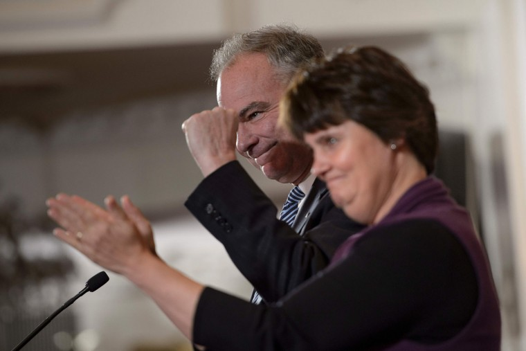 Vice presidential nominee Tim Kaine (D-VA) next to his wife Anne, speaks before US Democratic presidential candidate Hillary Clinton arrives to make a concession speech after being defeated by Republican president-elect Donald Trump in New York on November 9, 2016. (Brendan Smialowski/AFP/Getty Images)