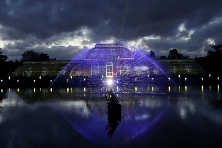 "The Palm House is illuminated at the launch of ""Christmas at Kew"" at the Kew Royal Botanic Gardens in London, Tuesday, Nov. 22, 2016. The event is open to the public from November 23 until January 2 and includes an illuminated trail lit up by over 60,000 lights. (AP Photo/Matt Dunham)"