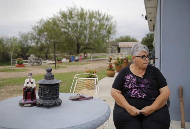 "In this Saturday, Nov. 12, 2016, photo, Aleida Garcia at her ranch in Los Ebanos, Texas. ""The wall is not going to stop anyone,"" said Jorge Garcia, who expected to lose access to most of his 30-acre riverside ranch after the U.S. Border Fence Act was enacted a decade ago. (AP Photo/Eric Gay)"