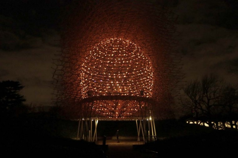 "A representative poses for photographs looking up under the 17-metre high bee health inspired 'The Hive' aluminum installation, at the launch of ""Christmas at Kew"" at the Kew Royal Botanic Gardens in London, Tuesday, Nov. 22, 2016. The event is open to the public from November 23 until January 2 and includes an illuminated trail lit up by over 60,000 lights. (AP Photo/Matt Dunham)"