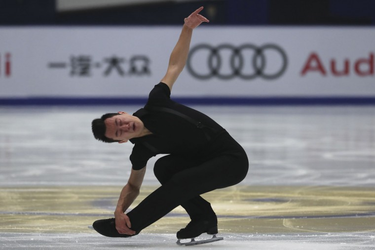 Patrick Chan of Canada competes in the Men Short Program of the Audi Cup of China ISU Grand Prix of Figure Skating 2016 held in Beijing's Capital Gymnasium in Beijing, China, Friday, Nov. 18, 2016. (AP Photo/Ng Han Guan)