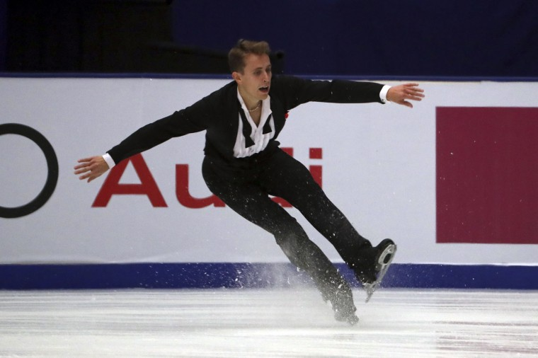 Michal Brezina of the Czech Republic competes in the Men Short Program of the Audi Cup of China ISU Grand Prix of Figure Skating 2016 held in Beijing's Capital Gymnasium in Beijing, China, Friday, Nov. 18, 2016. (AP Photo/Ng Han Guan)