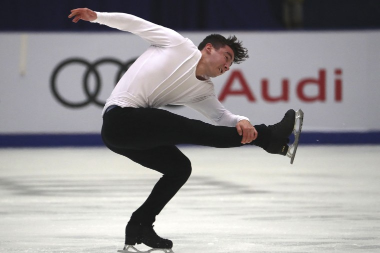 Max Aaron of the United States competes in the Men Short Program of the Audi Cup of China ISU Grand Prix of Figure Skating 2016 held in Beijing's Capital Gymnasium in Beijing, China, Friday, Nov. 18, 2016. (AP Photo/Ng Han Guan)