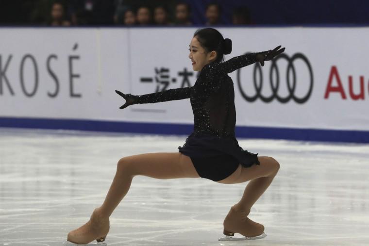 Li Zijun of China competes in the Ladies Short Program of the Audi Cup of China ISU Grand Prix of Figure Skating 2016 held in Beijing's Capital Gymnasium in Beijing, China, Friday, Nov. 18, 2016. (AP Photo/Ng Han Guan)
