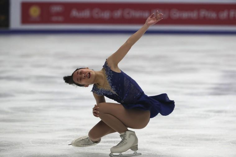 Mai Mihara of Japan competes in the Ladies Short Program of the Audi Cup of China ISU Grand Prix of Figure Skating 2016 held in Beijing's Capital Gymnasium in Beijing, China, Friday, Nov. 18, 2016. (AP Photo/Ng Han Guan)
