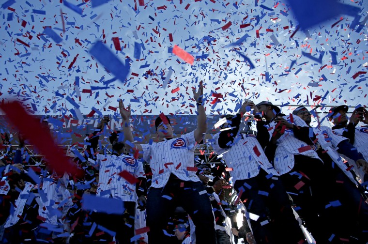 Chicago Cubs players celebrate during a celebration honoring the World Series champions at Grant Park in Chicago, Friday, Nov. 4, 2016. (AP Photo/Nam Y. Huh)