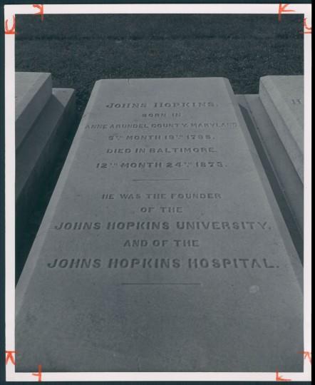 Johns Hopkins grave, July 7, 1957. (Bodine/Baltimore Sun)
