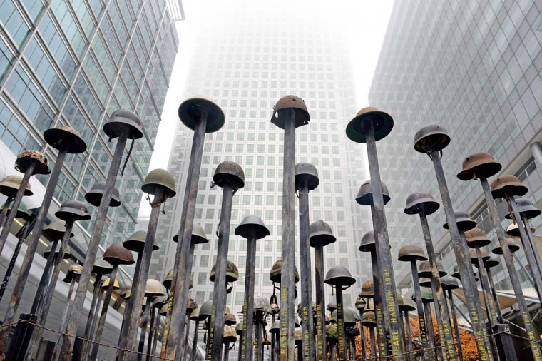 """Lost Soldiers"", an installation by artist Mark Humphrey is photographed, in Canary Wharf, London, Sunday, Oct. 30, 2016. The piece is part of the UK's first Remembrance Art Trail, in association with the Royal British Legion. (Victoria Jones/PA via AP)"
