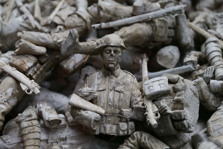 "An art installation called 'Lost Armies' is pictured as part of a Remembrance Art Trail in association with the Royal British Legion created by artist Mark Humphrey at Canary Wharf in east London on October 31, 2016. The Remembrance Art Trail consists of seven works made from military materials and salvage created by Mark Humphrey in association with the Royal British Legion and installed at Canary Wharf in the run up to Remembrance Sunday. Remebrance Sunday is a commemoration of the contribution of British and Commonwealth servicepeople in the two World Wars and later conflicts in the run up to which The Royal British Legion distributes remembrance poppys in return for donations to their ""Poppy Appeal"", which supports all current and former British military personnel. (DANIEL LEAL-OLIVAS/AFP/Getty Images)"