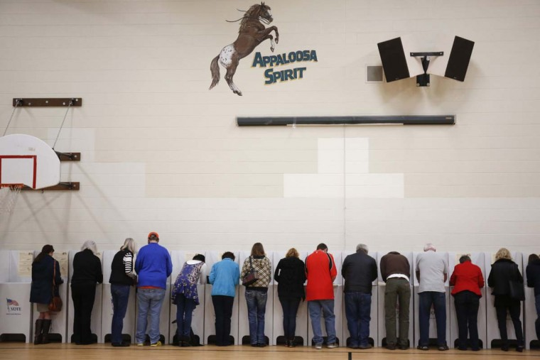 Voters cast their ballots at Cynthia Mann Elementary School in Boise, Idaho, on Tuesday, Nov. 8, 2016. (AP Photo/Otto Kitsinger)