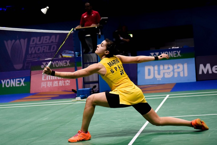 Carolina Marin from Spain plays against Sun Yu from China during their women's singles at the Dubai World Superseries Finals Badminton Tournament in Dubai on December 14, 2016. (Stringer/AFP/Getty Images)