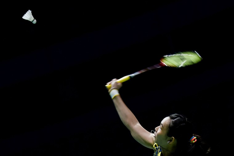 Tai Tzu Ying of Chinese Taipei plays against He Bingjoao of China during their women's singles at the Dubai World Superseries Finals Badminton Tournament in Dubai on December 14, 2016. (Stringer/AFP/Getty Images)