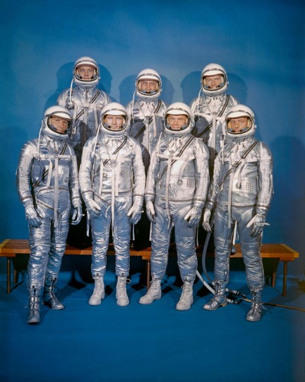 "This NASA photo taken on April 9, 1959, shows NASA introducing its first astronaut class, the Mercury 7, shown front row, (L-R): Walter M. Schirra, Jr., Donald K. ""Deke"" Slayton, John H. Glenn, Jr., and M. Scott Carpenter; back row, Alan B. Shepard, Jr., Virgil I. ""Gus"" Grissom, and L. Gordon Cooper, Jr. John Glenn's passing on December 8, 2016, means that the first seven American astronauts chosen to lead the fledging US space program in 1959 are now dead, ending a groundbreaking chapter in American history. (NASA/Handout/AFP/Getty Images)"