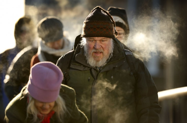 Commuters from Peaks Island arrive in Portland, Maine, Friday, Dec. 16, 2016, where the temperature hit low of minus-2 degrees F with a wind chill of minus-25. Low temperatures and high winds have put the Northeastern U.S. in a deep freeze. (AP Photo/Robert F. Bukaty)