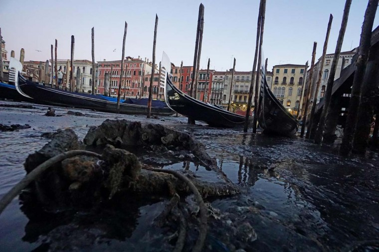A view of the gondolas in Riva del Vin area, a few steps from the Rialto Bridge, in the historic center of Venice, Italy, Thursday, Dec. 29, 2016. Unusually low tides caused a record low water that is causing problems to the water traffic. (Andrea Merola/ANSA via AP)