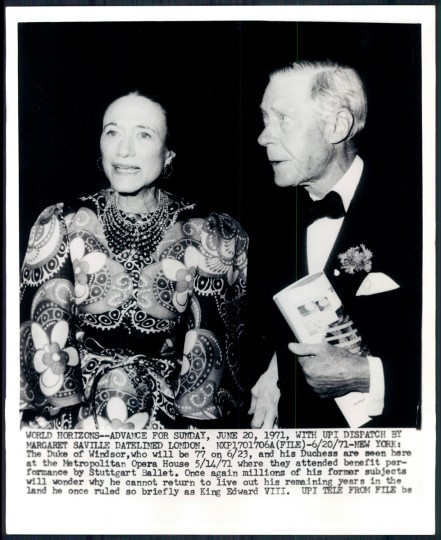 The Duke and Duchess of Windsor in photo dated 1971.