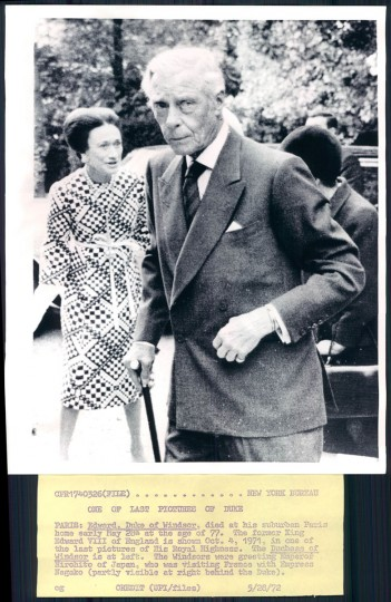 The Duke and Duchess of Windsor in photo dated 1972.