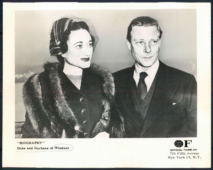 Duke and Duchess of Windsor in undated photo.