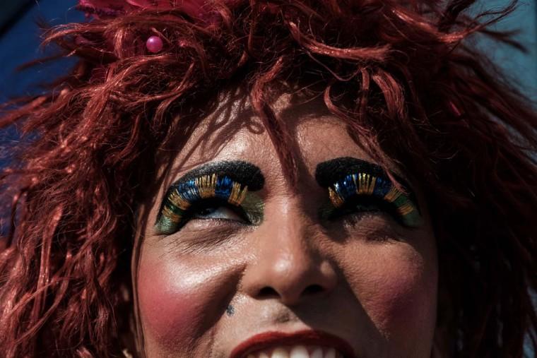 A reveller takes part in the 21st Rio LGBT pride parade at Copacabana beach in Rio de Janeiro, Brazil, on December 11, 2016. (YASUYOSHI CHIBA/AFP/Getty Images)