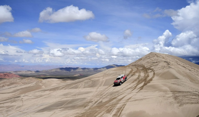 Mirko Hirvonen of Finland and his co-driver Michel Perrin of France steers their Mini during Stage 4 of the 2017 Dakar Rally between San Salvador de Jujuy and Tupiza, Bolivia, on January 5, 2017. (Franck Fife/AFP/Getty Images)