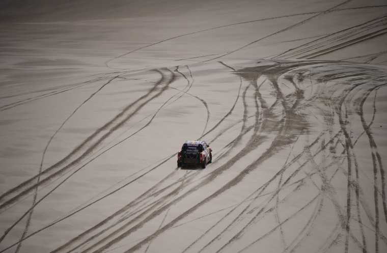 Toyota's driver Giniel De Villiers of South Africa and his co-driver Dirk Von Zitzewitz of Germany compete during the Stage 4 of the Dakar 2017 between San Salvador de Jujuy and Tupiza, Bolivia, on January 5, 2017. (Franck Fife/AFP/Getty Images)