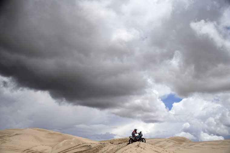 French biker Michael Metge powers his Honda during the Stage 4 of the Dakar 2017 between San Salvador de Jujuy and Tupiza, Bolivia. (Franck Fife/AFP/Getty Images)