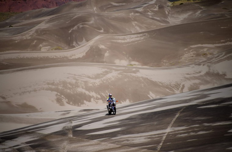 Carlo Vellutino of Peru rides during the Stage 4 of the Dakar 2017 between San Salvador de Jujuy and Tupiza, Bolivia, on January 5, 2017. (Franck Fife/AFP/Getty Images)