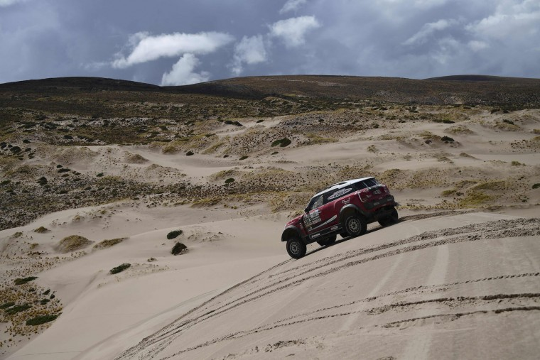 Toyota's driver Nani Roma of Spain and co-driver Alexandre Haro Bravo of Spain drivee during the Stage 4 of the Dakar 2017 between San Salvador de Jujuy and Tupiza, Bolivia, on January 5, 2017. (Franck Fife/AFP/Getty Images)