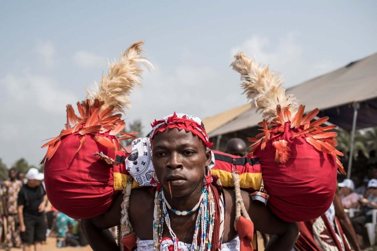 A Voodoo devotee performs on a beach at the annual Voodoo Festival on January 10, 2017 in Ouidah. (STEFAN HEUNIS/AFP/Getty Images)